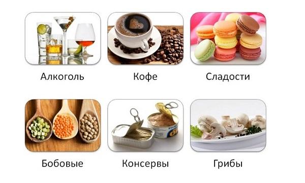 При панкреатите категорически запрещены кофе, алкоголь, мучные сладости, бобовые, консервы, грибы